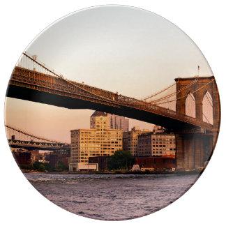 Photo of the Brooklyn Bridge in NYC Porcelain Plate