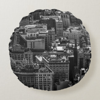 Photo of the New York City Skyline Landscape Round Pillow