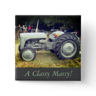 photo of vintage Gray massey fergison tractor Button