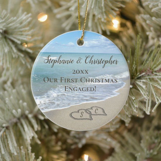 Photo On Back First Christmas Engaged Beach Hearts Ceramic Ornament