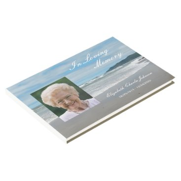 Beach Themed Photo on Beach Memorial or Funeral Guest Book