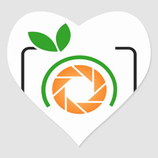 Photo orange with green leaves heart sticker