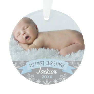 Christmas Themed Photo Ornament | Baby Boy First Christmas