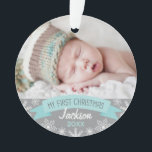 """Photo Ornament   Baby Boy First Christmas<br><div class=""""desc"""">""""My First Christmas"""" banner and snowflake border photo ornament design can be personalized with the baby boy's name and birth year. Ice blue,  gray and white colors.</div>"""