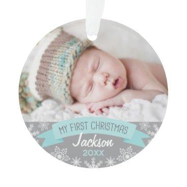 Christmas Themed Photo Ornament   Baby Boy First Christmas