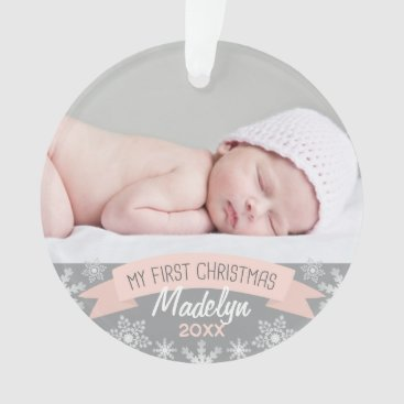 Toddler & Baby themed Photo Ornament | Baby Girl First Christmas