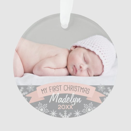 Photo Ornament | Baby Girl First Christmas | Zazzle.com
