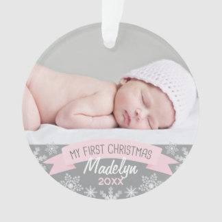 Photo Ornament | Baby Girl First Christmas