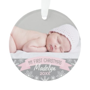 Christmas Themed Photo Ornament | Baby Girl First Christmas