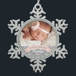 "Photo Ornament | Baby Girl First Christmas<br><div class=""desc"">&quot;My First Christmas&quot; banner and snowflake border photo ornament design can be personalized with the baby girl&#39;s name and birth year. Blush pink,  gray and white colors.</div>"