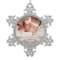 Photo Ornament   Baby Girl First Christmas