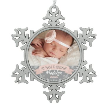 Christmas Themed Photo Ornament | Baby Girl First Christmas