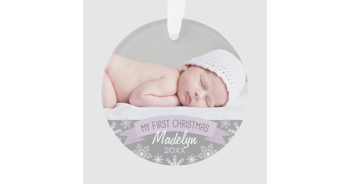 photo ornament baby girl first christmas zazzlecom