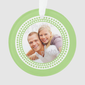 Photo Ornament Dots Lime Green