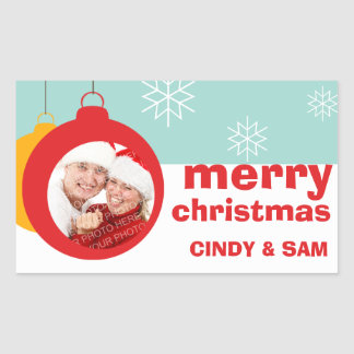 Photo ornament fun Merry Christmas large favor tag Rectangular Sticker
