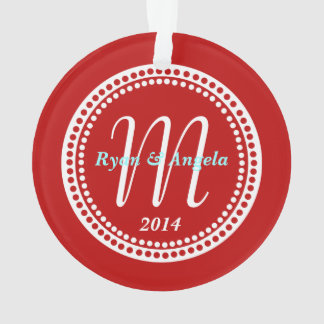 Photo Ornament Monogram Red