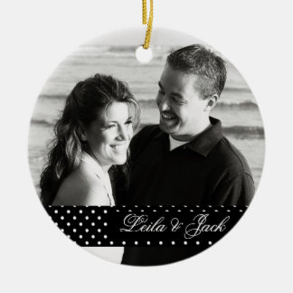 Photo Ornament with Classic Polka-Dots Design