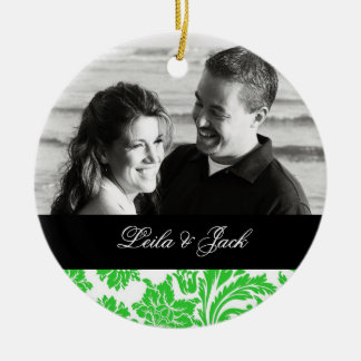 Photo Ornament with Green French Damask Design