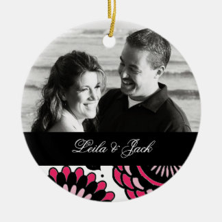 Photo Ornament with Hot Pink & Black Floral Design