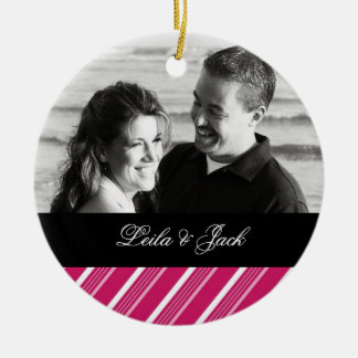 Photo Ornament with Peppermint Pink Design