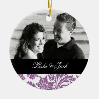 Photo Ornament with Purple French Damask Design
