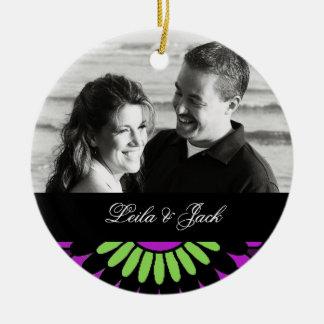 Photo Ornament with Purple Retro Floral Design