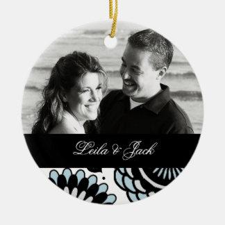 Photo Ornament with Sky Blue & Black Floral Design