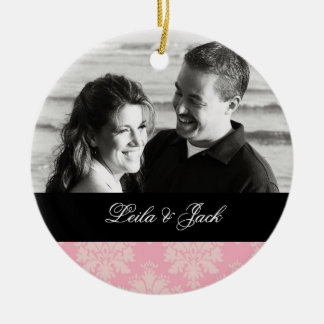 Photo Ornament with Soft Pink Damask Design