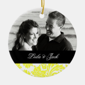 Photo Ornament with Yellow French Damask Design