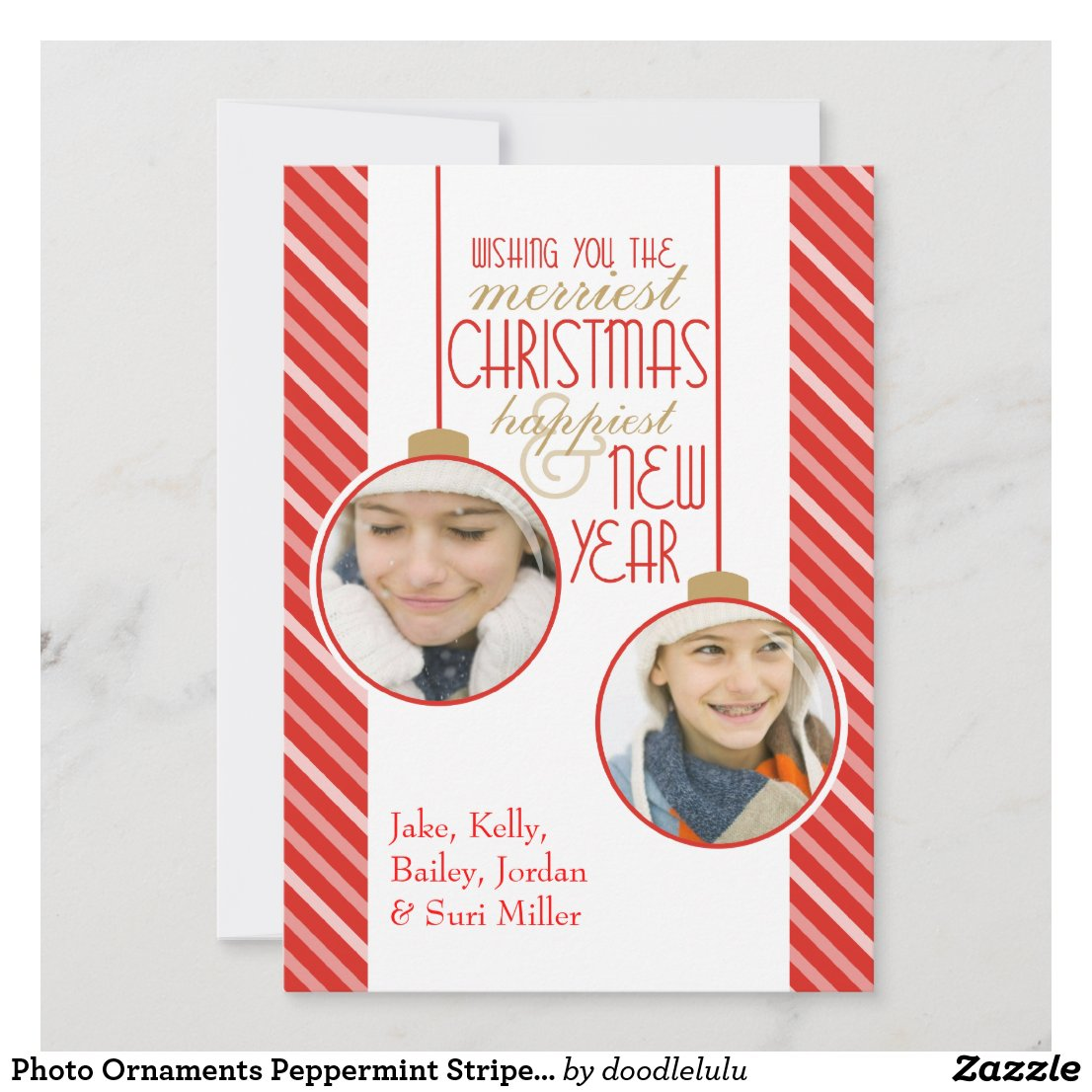 Photo Ornaments Peppermint Stripes Christmas Card