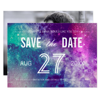 Photo Pastel Galaxy Save the Date Cards