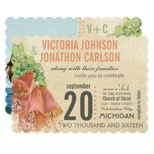 Photo Peach and Mint Wedding Typography Wedding Card