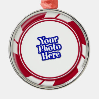 Photo Peppermint Swirl Stripe Candy Metal Ornament