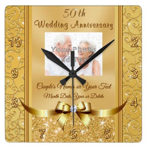 Photo Personalized 50th Wedding Anniversary Clocks