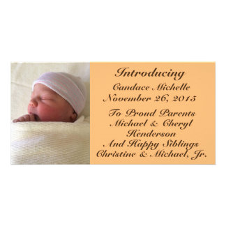 Photo Personalized Baby Birth Announcement 4x8