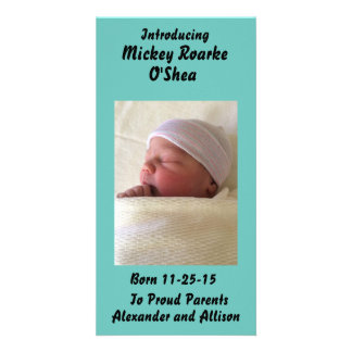 Photo Personalized Baby or Pet Announcement 8x4