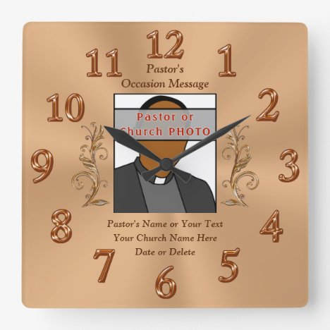 Photo, Personalized Pastor Anniversary Gift Ideas Square Wall Clock