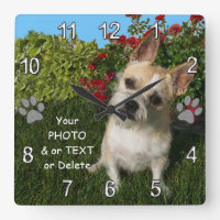 Photo Personalized Pet Gift Ideas for Pet Lovers Square Wall Clock