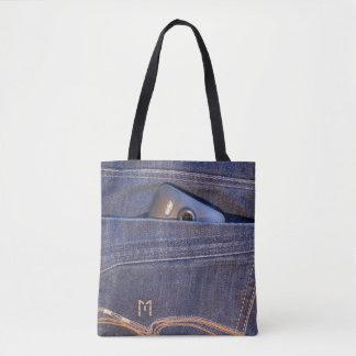 Photo Phone in blue demin jeans pocket monogram Tote Bag