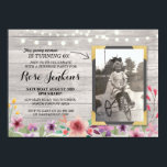 "Photo Pink Birthday Floral Rustic Wood Invitations<br><div class=""desc"">Add your photo to this vintage style chalk invite. Add any age. Back print included.</div>"