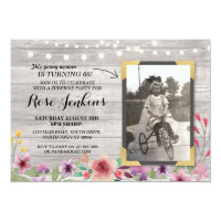 Rustic birthday invitations zazzle photo pink birthday floral rustic wood invitations filmwisefo