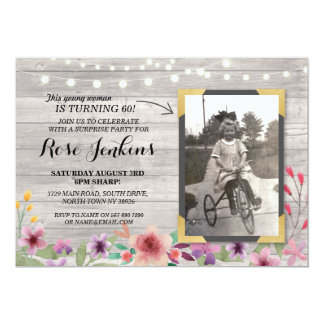 Photo Pink Birthday Floral Rustic Wood Invitations
