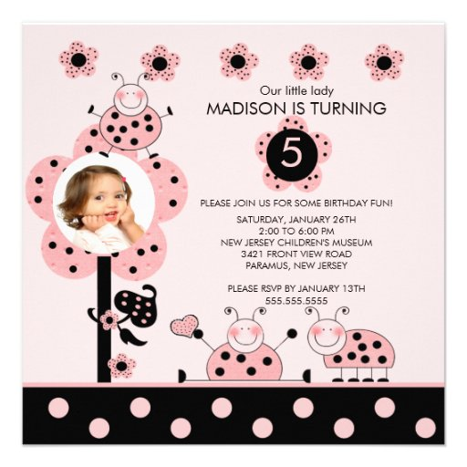 Photo Pink & Black Ladybugs Birthday Invitation