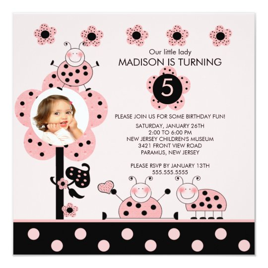 Photo Pink & Black Ladybugs Birthday Invitation