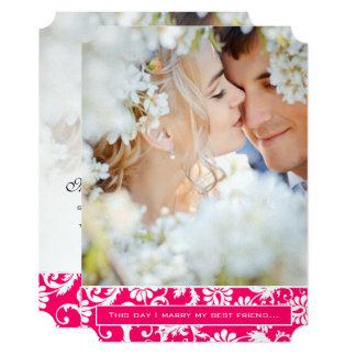Photo Pink Damask I marry my Best Friend Wedding Card