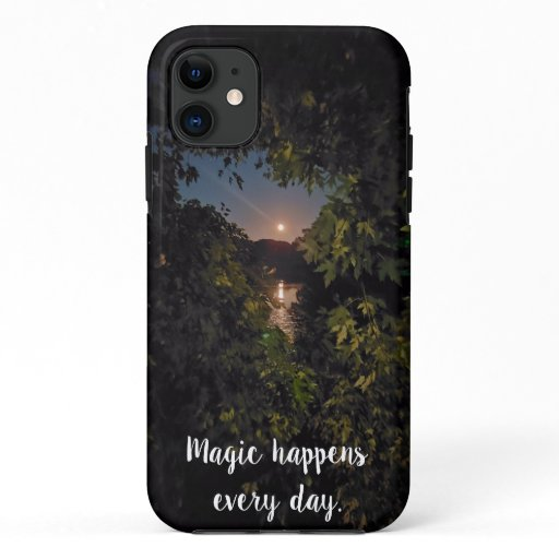 Photo pink full moon rising over water iPhone 11 case