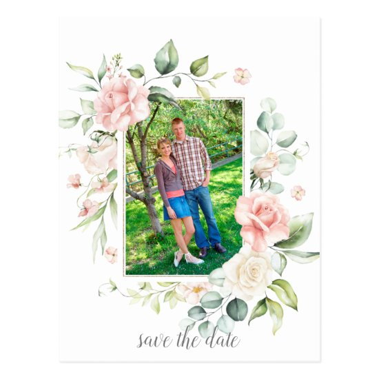 Photo Pink Roses Eucalyptus Greenery Save The Date Postcard