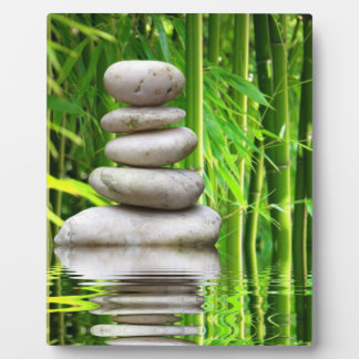 Photo plate stone pyramid bamboo plaque
