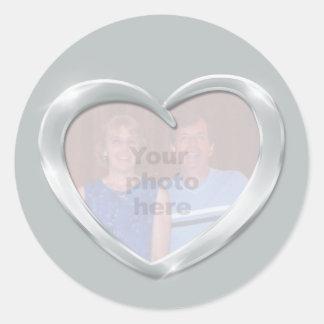 Photo platinum anniversary heart sticker