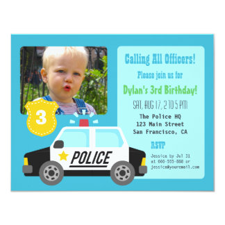 Photo Police Car Kids Birthday Party Invitation
